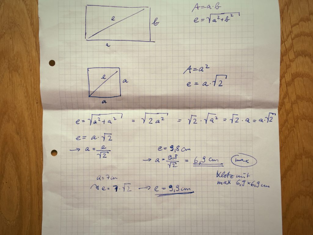 Berechnung der maximal möglichen Diagonale